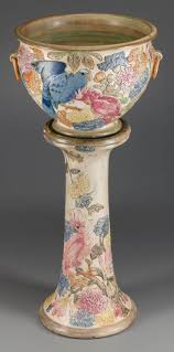 Van Briggle Lamp Value by Weller Pottery Parrot Jardiniere And Pedestal Circa 1919 Weller