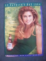 Vintage Budweiser Bud Light Beer Kathy Ireland St Particks Patty Day Poster 1994