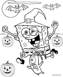 Happy Halloween Coloring Pages Realistic View Larger Spongebob