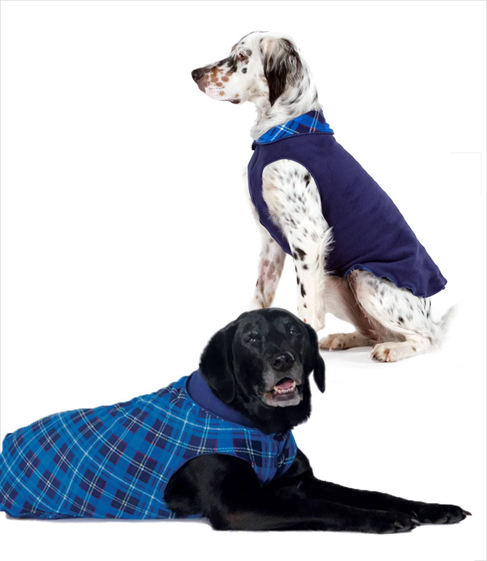 Gold Paw Duluth Double Fleece Pullover Blue Plaid/Navy 6