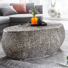 wohnling couchtisch 110x45x60 cm aluminium silber design loungetisch oval sofatisch ast struktur metall wohnzimmertisch modern stubentisch groß