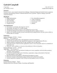 Restaurant General Manager Resume Rh Masinky Tk Asst