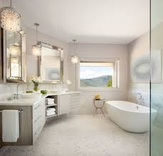 floating double vanity bathroom transitional with chandelier