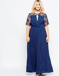asos kate lace maxi dress with flutter sleeves navy in blue lyst