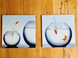 tolle wandbilder aus glas mit fischen 50 x 50 cm für büro