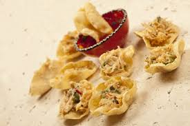 crab canapes crab poppadom canapés duffield cooking the books