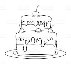 Cake Decorating Books Free by Outlined Birthday Cake For Coloring Book Stock Vector Art