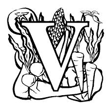Letter V Vegetables Coloring Page