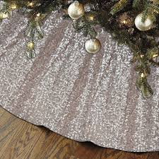 Sequin Tree Skirt Champagne 48 Christmas Unique Sparkly Glittery Holiday Embroidery Blush Gold