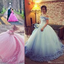 baby blue pink 3d floral masquerade ball gown quinceanera dresses