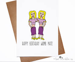 cute birthday cards twins girl yellow hair purple clothings womb mate white background simple photos draw