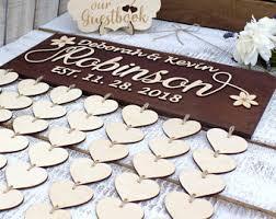 Custom 3D Wedding Guest Book Alternative Wood Hearts Rustic Unique Guestbook Wooden
