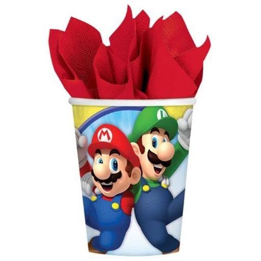 Super Mario Brothers Birthday Party Paper Cups - 8 x 9oz Pack