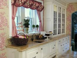 Charming Shabby Chic Kitchen With Floral Toile Wallpaper
