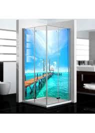 dedeco eck duschrückwand wasserfest mit ozean v6 motiv 2 x