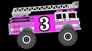 100 Pink Fire Trucks Monster Teach Numbers 1 To 10 Learn To Count
