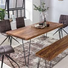 wohnling esstisch bagli massivholz sheesham 200 x 80 x 76 cm esszimmer tisch küchentisch modern landhaus stil holztisch mit metallbeinen dunkel braun