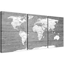 Oversized Large Black White Map Of World Atlas Canvas Wall Art Print Multi 3 Panel 3315 Display Gallery Item 1