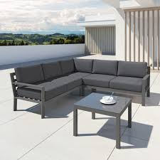 canapé de jardin design mio ensemble salon de jardin design aluminium gris intérieur