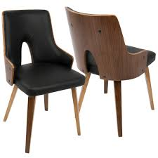 Lumisource Stella Mid-Century Walnut And Black Modern Dining Chair ... Shiro Dark Wood Modern Fniture Set Of Two Upholstered Brown Ding Charlotte Modern Ding Chair With Chrome Legs Brown Zuri Fniture Simple And Chair In South America Retail Green Leather With Polished Wooden Frame And Base Room Sparrow Wood Set 2 On Hautelook Texas Ireland Bracket Chairs Gus Luxurious Boasts A Table Illuminated Whosale Brooklyn Curve Tan Faux Steel Carver Vasa Removable Cover Pablo Gingko Home Furnishings