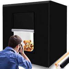 104 Studio Tent Samtian Photo Box 80cm With 3 Background Paper Black White And Orange And 2 Led Stripe Light Camera Cy