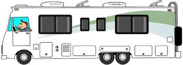 Class A Motorhome This Illustration Depicts Man Driving Stock Image