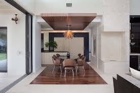 Bulkhead Dining Room Modern With Wall Cutouts Mixed Flooring Outdoor Ceiling Fan