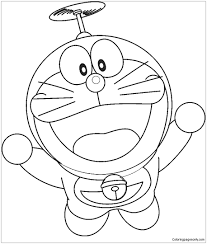 Doraemon Flying Coloring Page