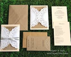 Romantic Rustic Wedding Invitation Set Made Of Paper Doily And Recycled Kraft