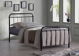 Miami Black Traditional Hospital Style 3FT Single Metal Bed Frame
