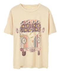 Volkswagen Beige Loose Fit T Shirt With Cartoon Car Print Tattoos