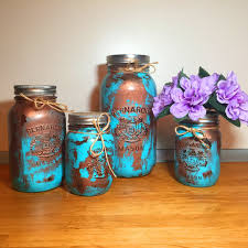 Copper Patina Mason Jar Kitchen Canister Set Decor Containers Organization