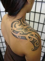 Polynesian Tattoo On A Womans Shoulder
