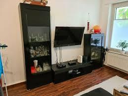 wohnwand fernseherwand wohnzimmer schrank schwarz hochglanz
