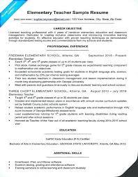 Resume Teachers Objectives Example For Sample Teaching A Elementary Teacher Position