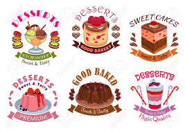 Bakery desserts pastry cakes emblem labels set Vector isolated icons of dessert and sweet