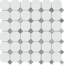 thassos octagon mosaic with blue gray dots polished mosaic
