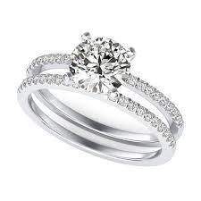 38 CT Diamond Trio Matching Wedding Ring Set 10K White Gold