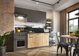 moderne küche küchenzeile klara 120 180cm marmor holz grau matt