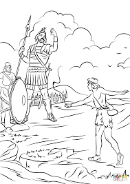 David And Goliath Fighting Coloring Page In Pages