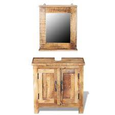 VidaXL Solid Mango Wood Bathroom Vanity Cabinet Set 2 Doors Mirror Vintage Style