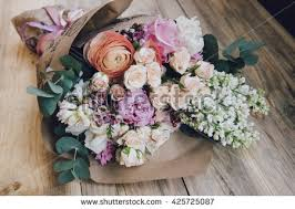 Beautiful Flower Bouquet On Wooden Rustic Stock Photo 425725087