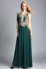 emerald green chiffon gold lace applique mother of the groom