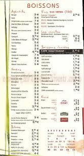 restaurant les temps moderne carte et menus