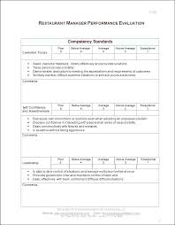 Manager Review Form Template Restaurant Performance Office Evaluation Dental Sample
