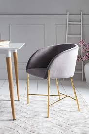 salesfever polsterstuhl sjard in grau esszimmer stuhl in samt optik mit armlehnen gestell messing farben sitz und rückenpolsterung