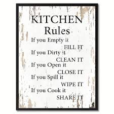 Funny Bathroom Framed Art by Kitchen Rules Saying Canvas Print Black Picture Frame Home Decor