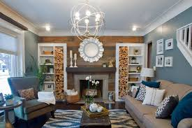 Blue Living Room With Wood Accent Wall