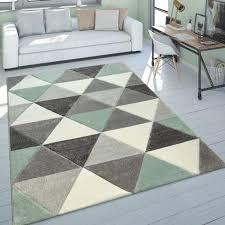 wohnzimmer teppich grün grau pastellfarben kurzflor retro design dreieck muster grösse 120x170 cm