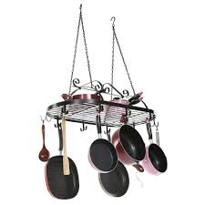 cool new kitchen ceiling mount pot rack with lights flair